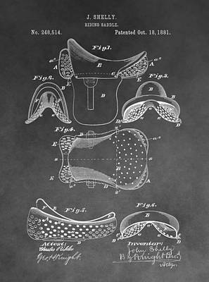 Old Barn Drawing - Horseback Saddle Patent by Dan Sproul