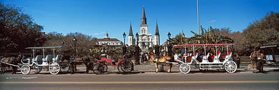 St Louis Square Photograph - Horsedrawn Carriages On The Road by Panoramic Images