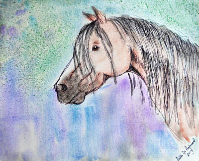 Photograph - Horsehead In Watercolor And Ink by Debbie Portwood