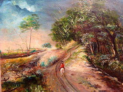 Painting - Horseman Riding On A Road by Egidio Graziani