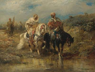 Arabian Painting - Horsemen At A Watering Hole by Celestial Images