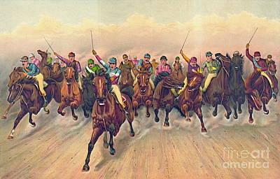 Horserace 1888 Art Print by Padre Art