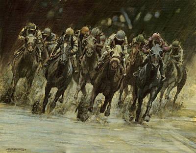 Race Horse Painting - Horseracing In Rain by Don  Langeneckert