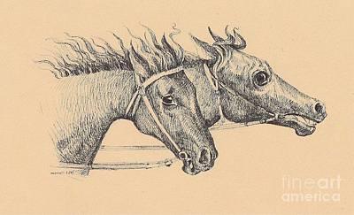 Digital Art - Horses 422-08-13 Marucii by Marek Lutek