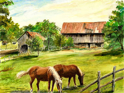 Wall Art - Painting - Horses And Barn by C Keith Jones