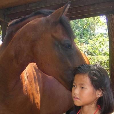 Horses And Children Art Print by Rene Trebing
