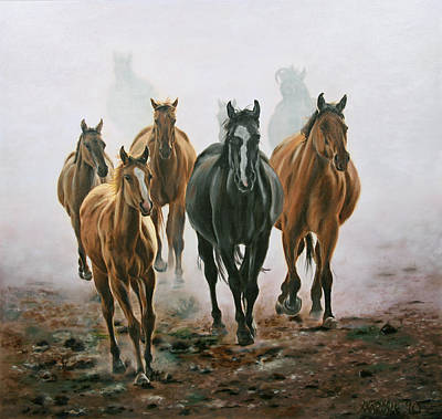 Horses And Dust Art Print