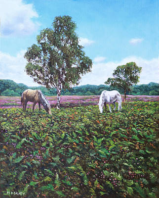 Painting - Horses And Heather In The New Forest by Martin Davey