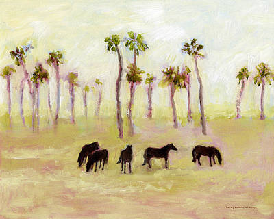 Horses And Palm Trees Art Print