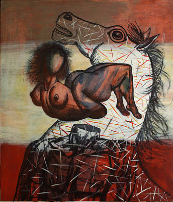 Horses And People Art Print by Karen Aghamyan