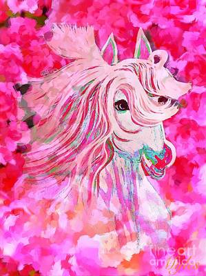Painting - Pink Horses And Roses by Saundra Myles