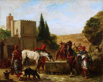 Horses At A Fountain Print by Eugene Delacroix