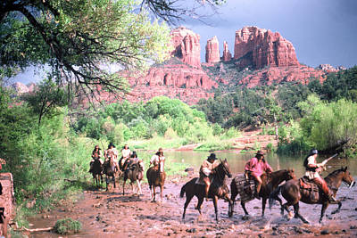 Horses At Red Rock Crossing 1 Art Print by Bob Bradshaw