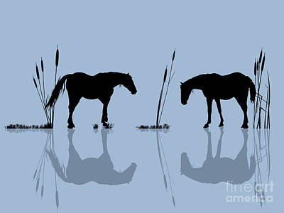 Farm Stand Digital Art - Horses At The Water by Richard Laschon