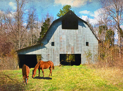 Horses Call This Old Barn Home Art Print by Sandi OReilly