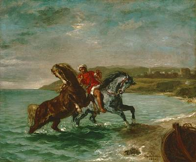 Horses Coming Out Of The Sea Art Print by Eugene Delacroix