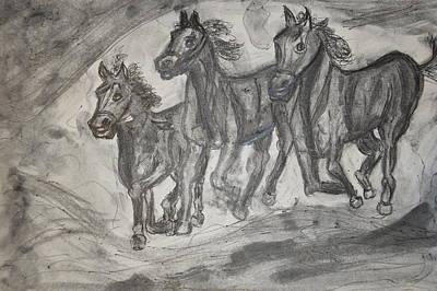 Snowy Night Drawing - Horses by Daniele Fedi