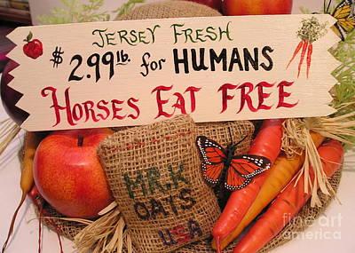 Farmstand Mixed Media - Horses Eat Free by Catherine Howley