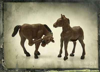 Horses Figurines Print by Bernard Jaubert