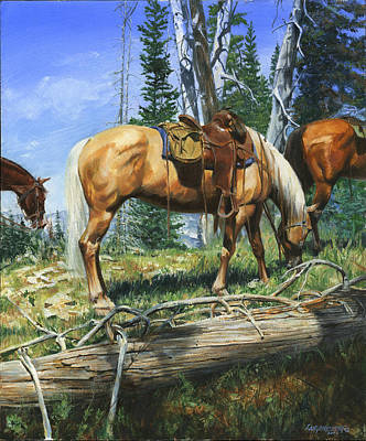 Palomino Horse Painting - Palomino At Lunch Break by Don  Langeneckert