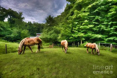 Horses Grazing In Field Art Print by Dan Friend