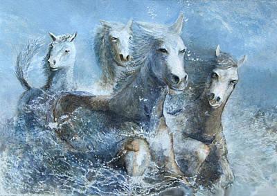 Horses Having Fun Art Print by Theo Brush