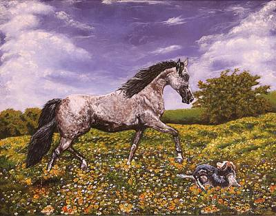 Stride Painting - Horses Horse Paintings Making Strides by Robert Lafaye