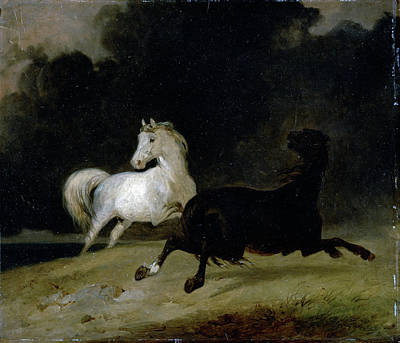 Storm Clouds Drawing - Horses In A Thunderstorm, Thomas Woodward by Litz Collection