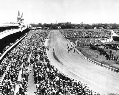 Horses In Action At Vintage Churchill Downs Race Print by Retro Images Archive