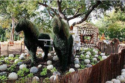 Digital Art - Horses In Pumpkin Fairy-land by Carrie OBrien Sibley