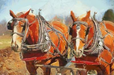 Farm Fields Mixed Media - Horses In The Field by Dan Sproul