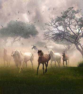Art Print featuring the digital art Horses In The Mist by Nina Bradica