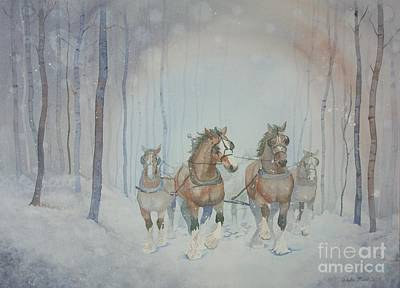 Painting - Horses In The Snow by Paula Marsh