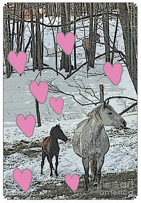 Animals Digital Art - Horses in the Snowy Hearts by Patricia Keller