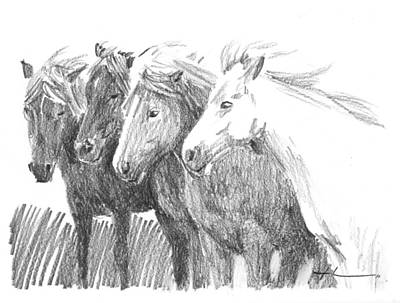 Drawing - Horses In Wind Pencil Portrait by Mike Theuer