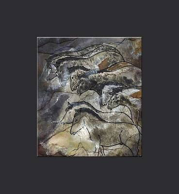 Horses Lascaux Cave Small Blue Grey Border  Print by L Brown