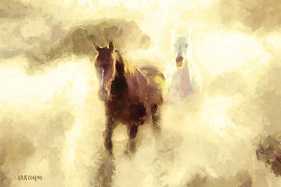 Art Print featuring the painting Horses Of The Mist by Greg Collins