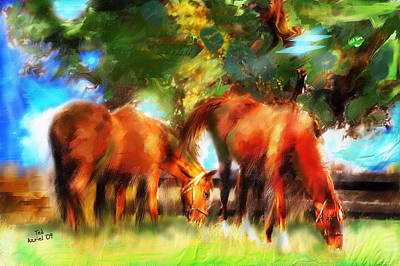 Art Print featuring the painting Horses On A Kentucky Farm by Ted Azriel