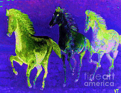 Painting - Horses On Blue by Vicky Tarcau