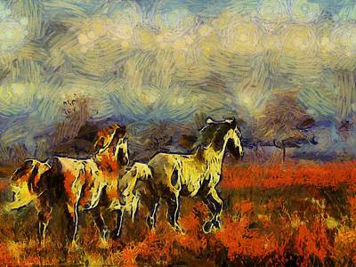 Horses On The Gogh Art Print by Shannon Story