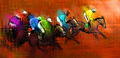 Sports Paintings - Horses racing 01 by Miki De Goodaboom
