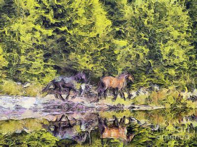 Animal Behavior Painting - Horses Run by Odon Czintos