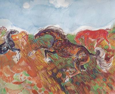 Painting - Horses Run Wild by Mary Armstrong