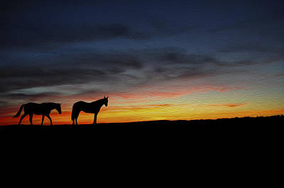 Herding Digital Art - Horses Walking In The Sunset by Aged Pixel