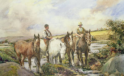 Horses Watering Print by Henry Meynell Rheam