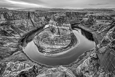 Photograph - Horseshoe Bend Arizona Black And White by Todd Aaron