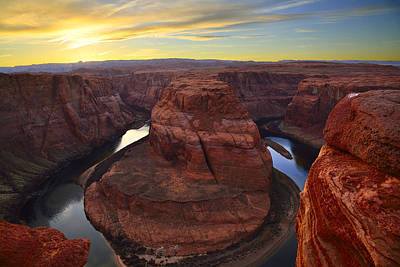 Horseshoe Bend At Sunset Art Print