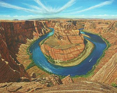 Navajo Painting - Horseshoe Bend Colorado River Arizona by Richard Harpum