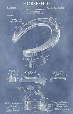 Talisman Mixed Media - Horseshoe Patent by Dan Sproul