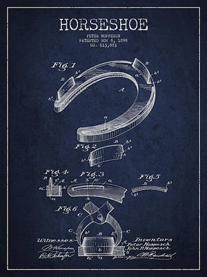 Horses Digital Art - Horseshoe Patent Drawing From 1898 by Aged Pixel